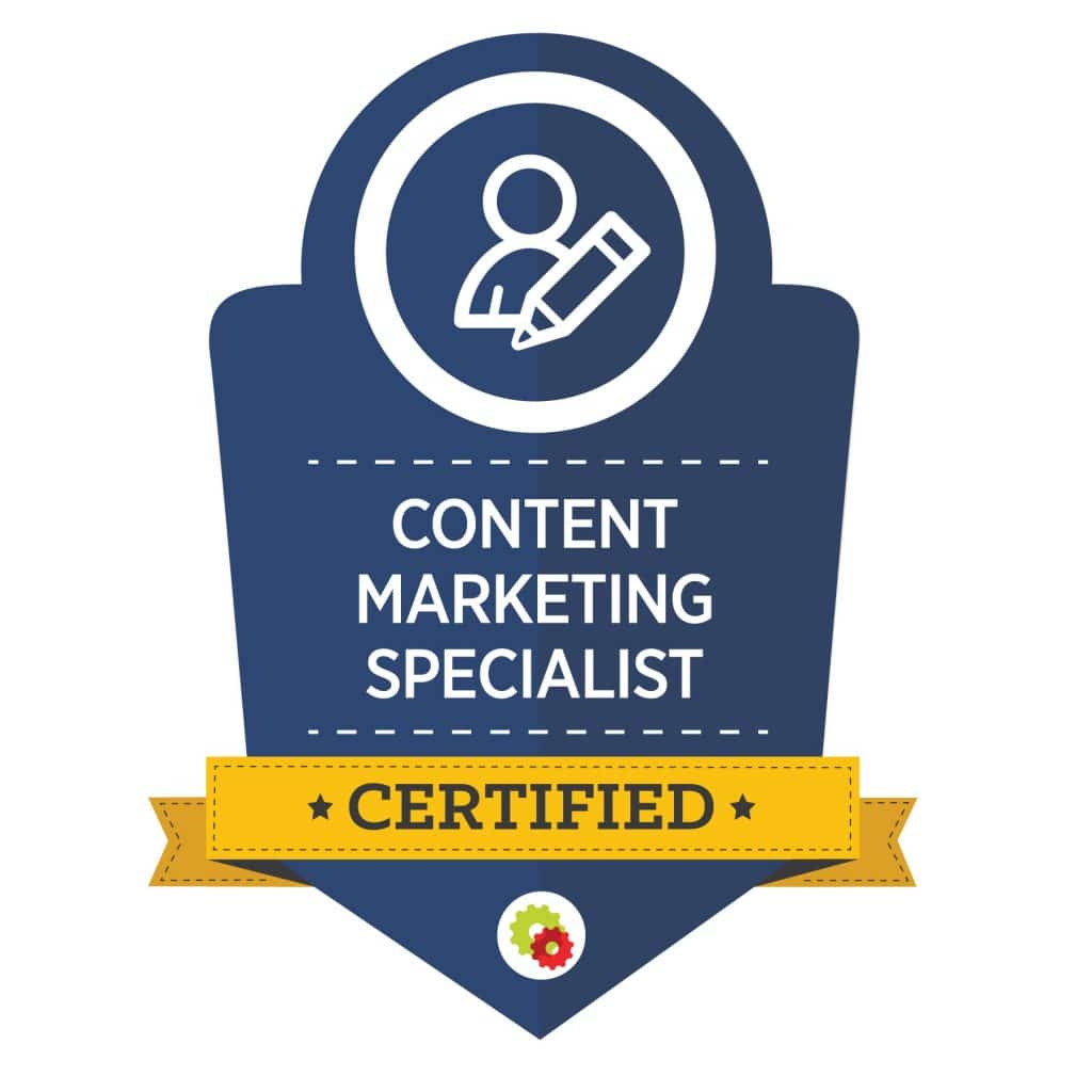 dark blue graphic for certified content marketing specialist with person and pencil image