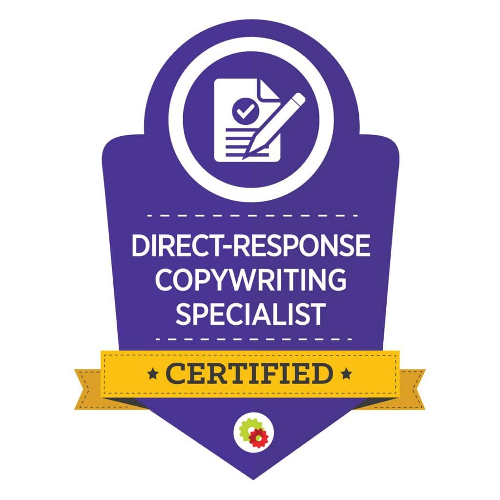 purple graphic for certified direct-response copywriting specialist with pencil and paper image