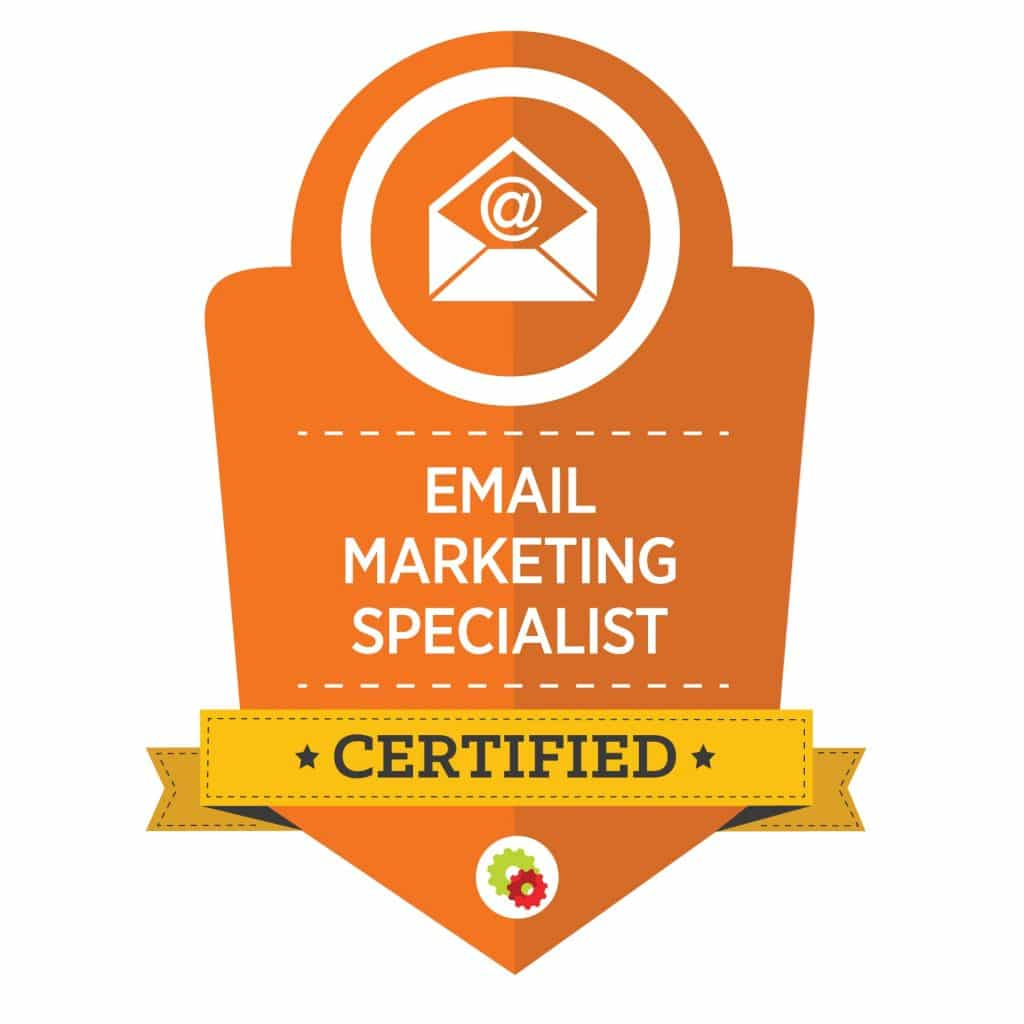 orange graphic for certified email marketing specialist with envelope image