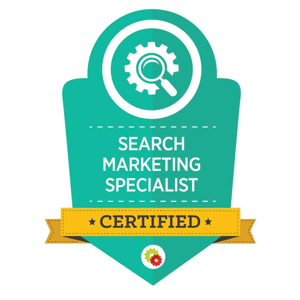 teal graphic for search marketing specialist with magnifying glass image
