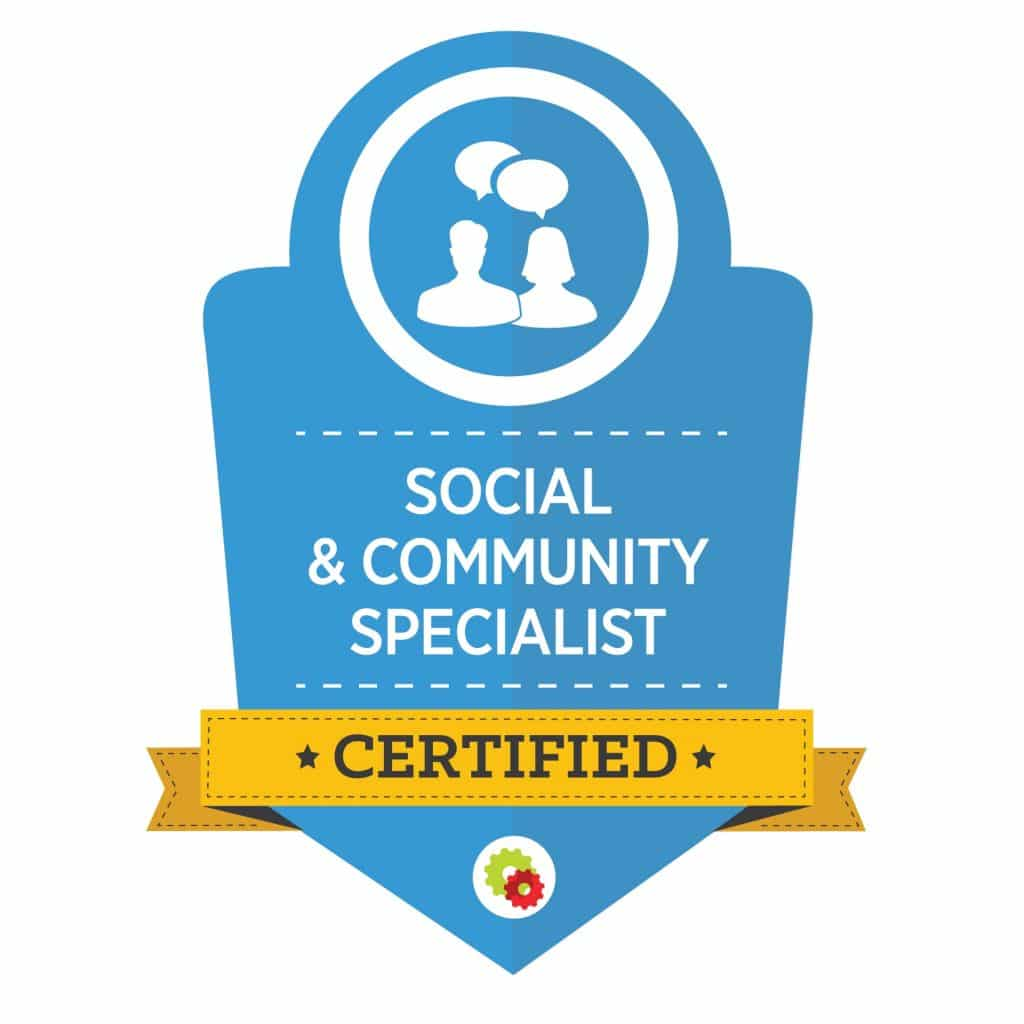 light blue graphic for certified social and community specialist with outlined man and woman busts with speech bubbles overhead