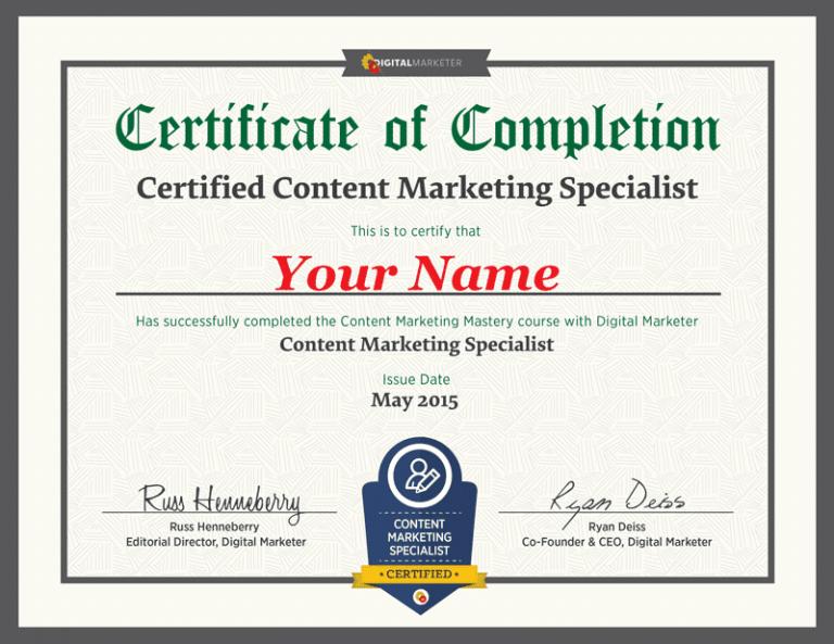 Digital Marketer Certification Example