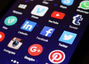 Photo: Social Media Icons on a Phone